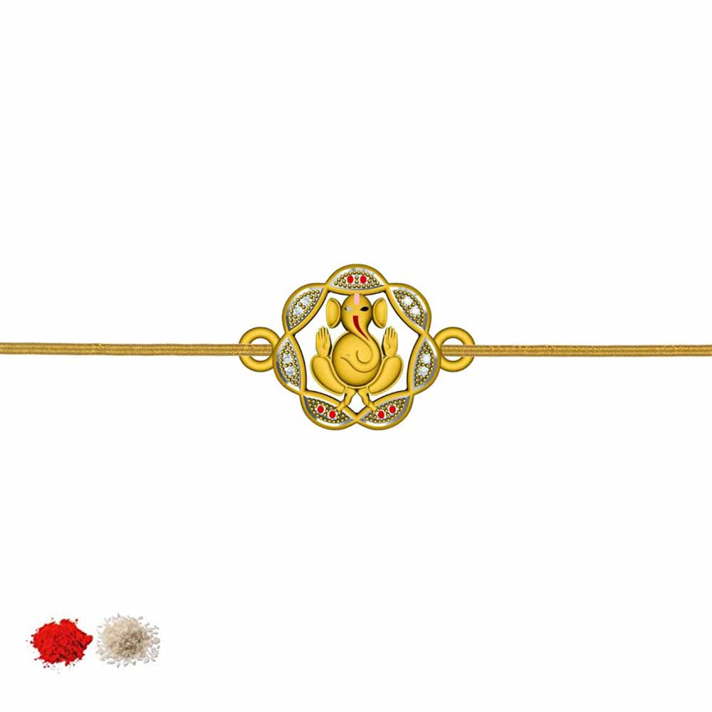 Royal Rakhi Collection-GANESH CZ RAKHI