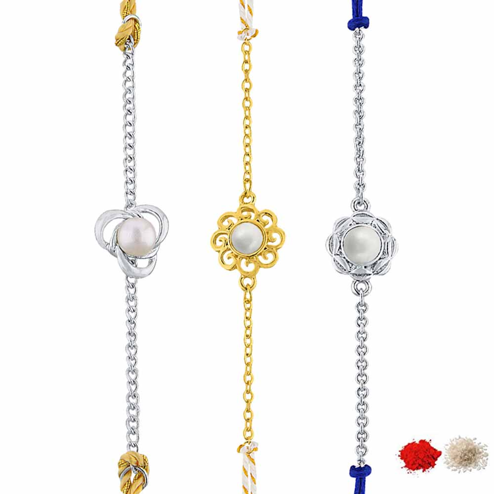 Royal Rakhi Collection-COMBO OF 3 FRESH WATER PEARL RAKHIS