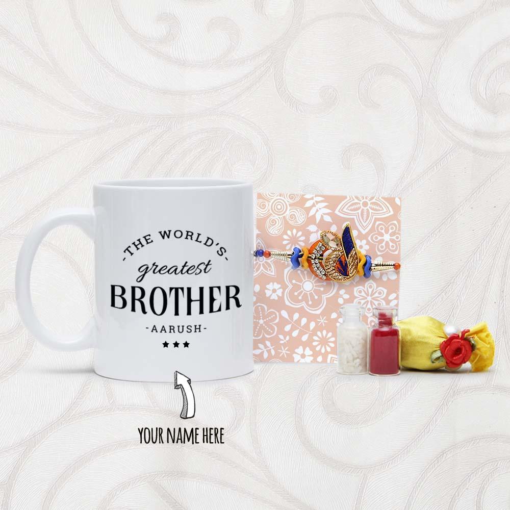 Personalized Mug with Designer Rakhi