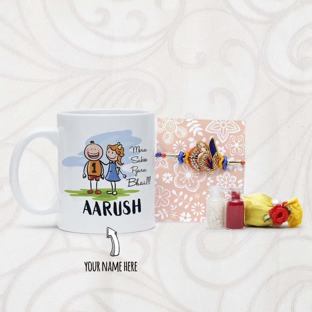Personalized Mug and Designer Rakhi Arrangement