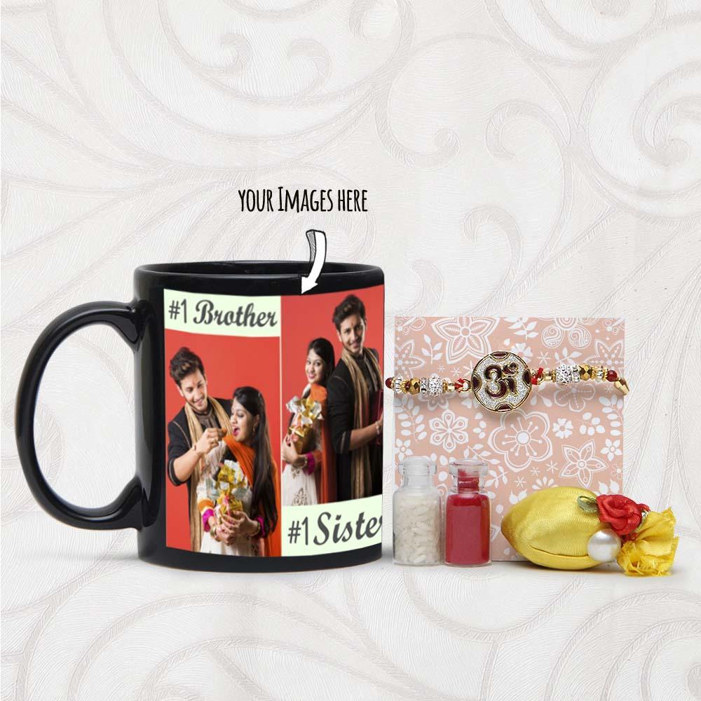 Om rakhi with Personalized Image Printed Mug
