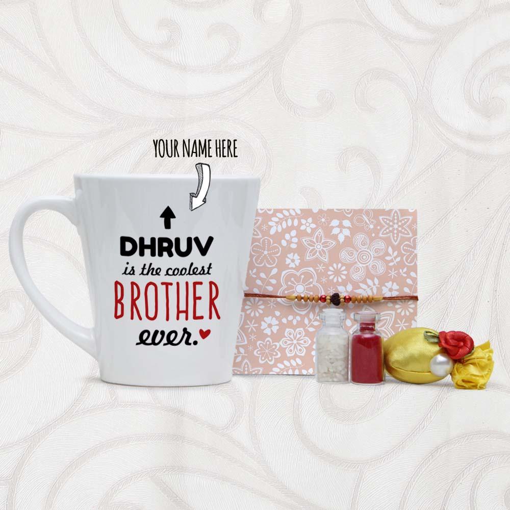 Name Printed Personalized Mug and Rudraksha Rakhi