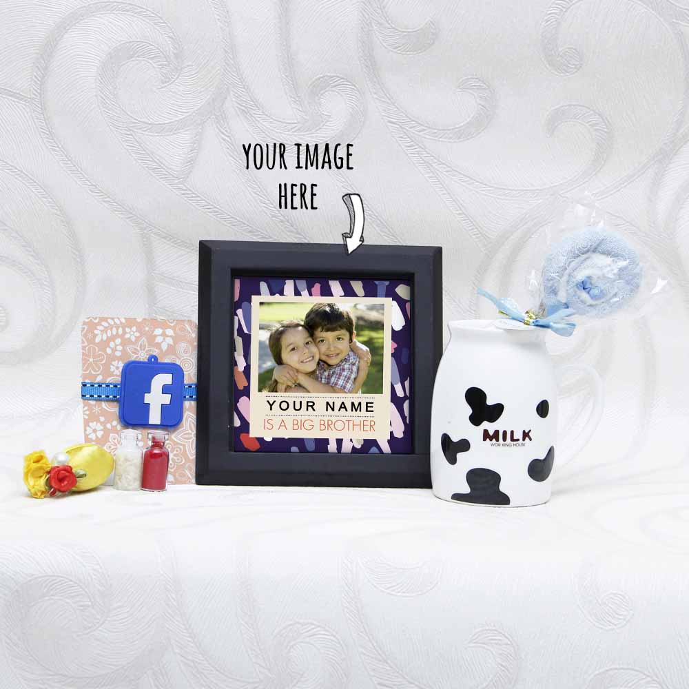 Facebook Rakhi Combo with Personalized Table Top and Mug for Kids