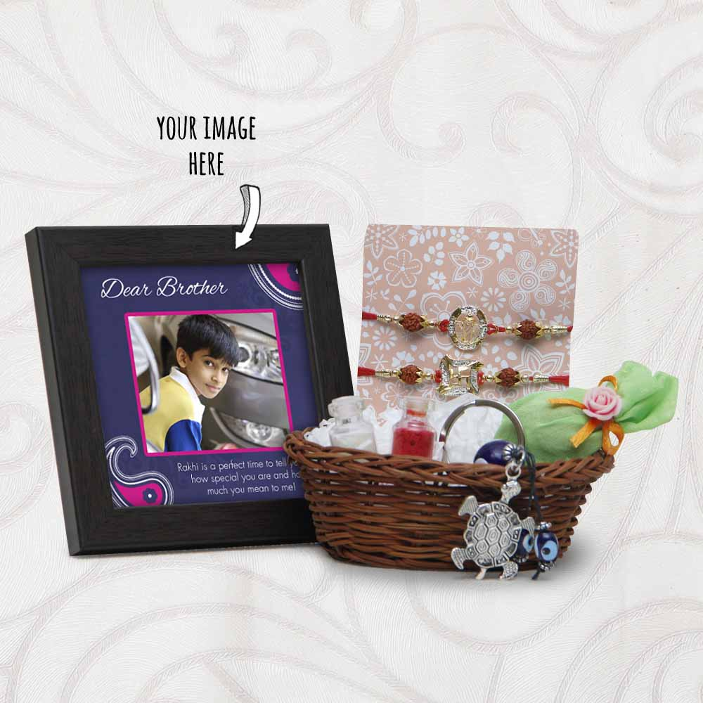 Rakhi Arrangement Basket with Key Chain and Personalized Frame