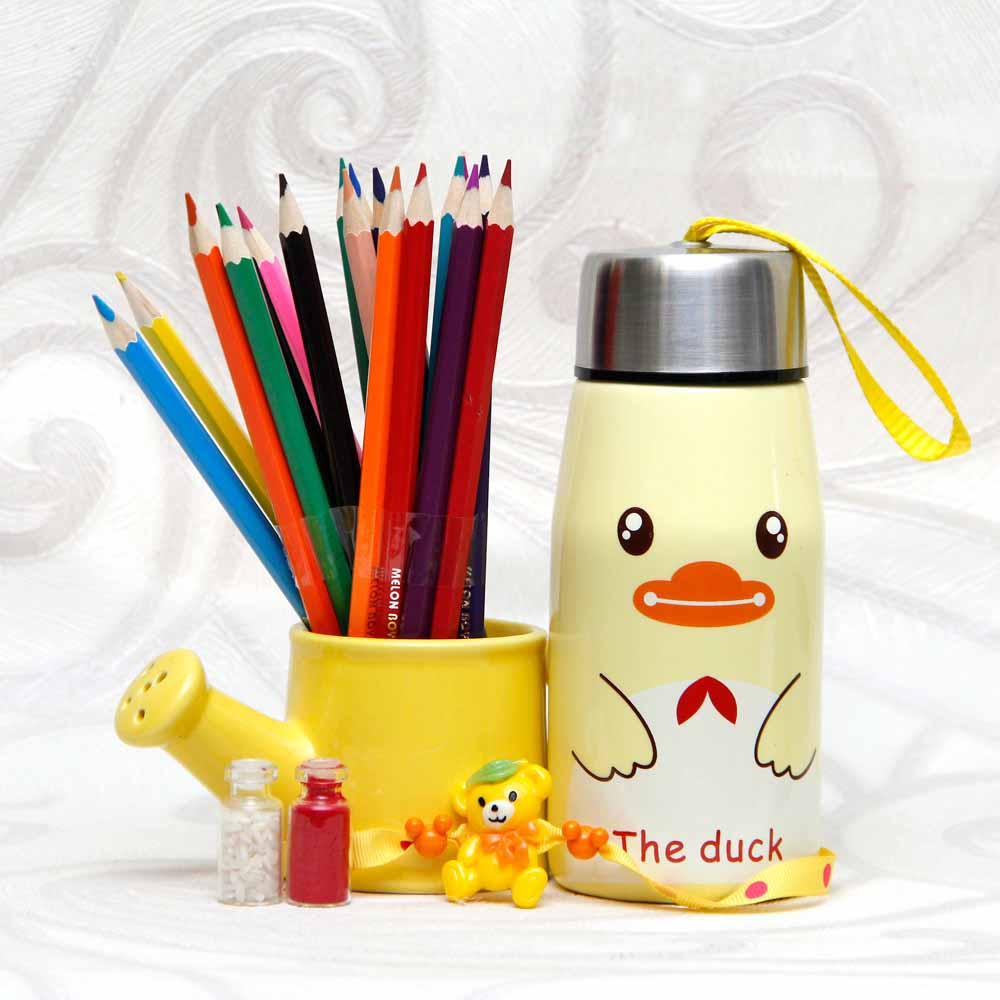 Sipper and Pencil-Holder Arrangement with Rakhi for Kids