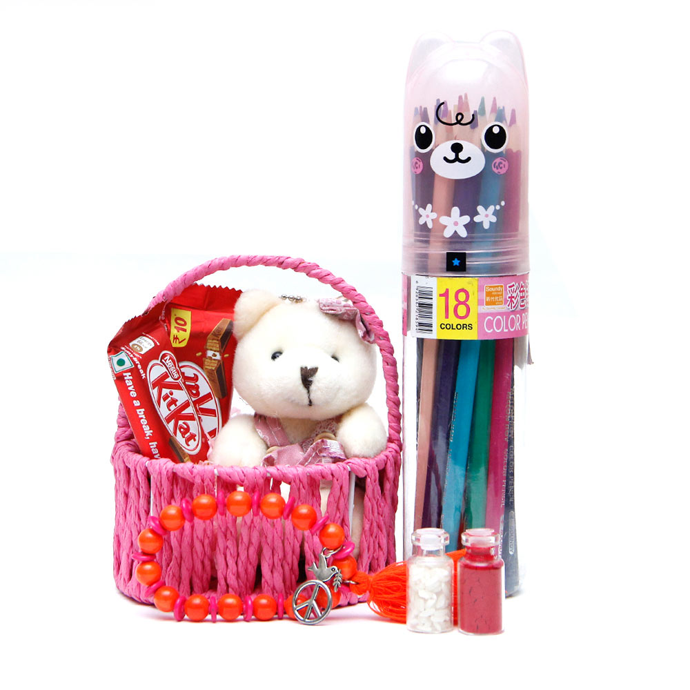 Chocolates and Teddy Basket Arrangement with Rakhi for Kids