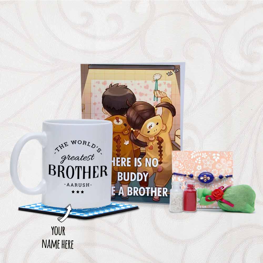 Rakhi Arrangement with Card and Personalized Mug