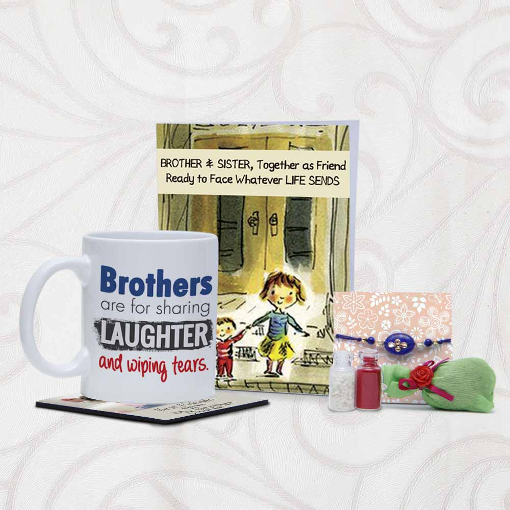 Mug and Card Combo with Rakhi Arrangements