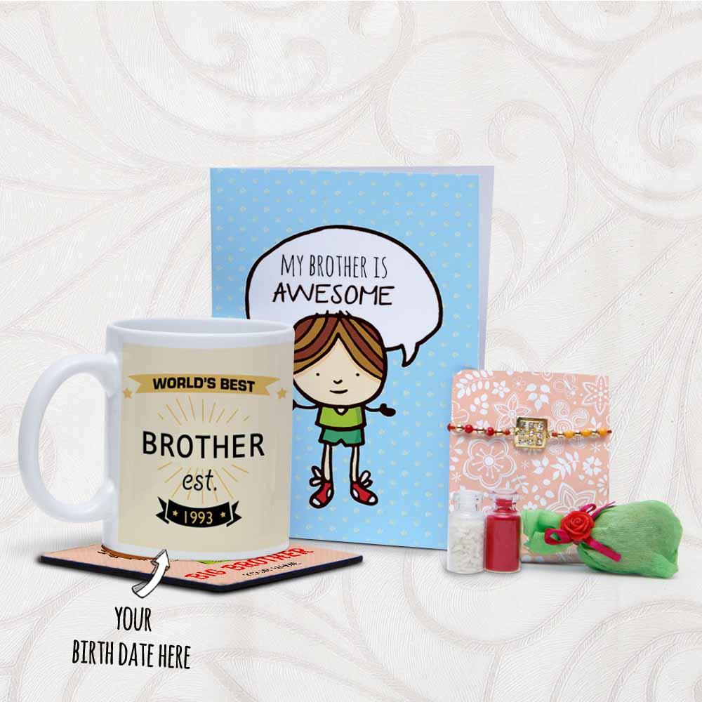Birthday Printed Mug with Card and Rakhi