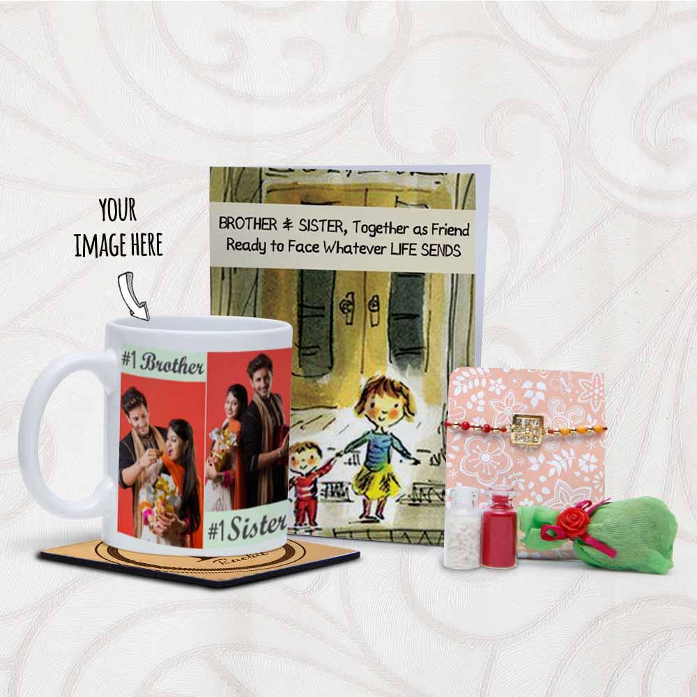 Images Printed Personalized Mug and Rakhi Arrangement