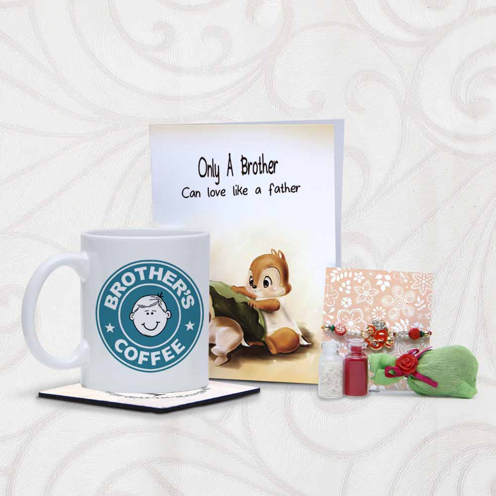 Mug and Coaster with Rakhi for Brother with Greeting Card
