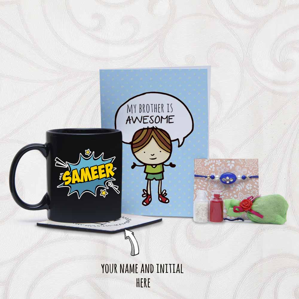 Rakhi Arrangement with Personalized Mug and Coaster
