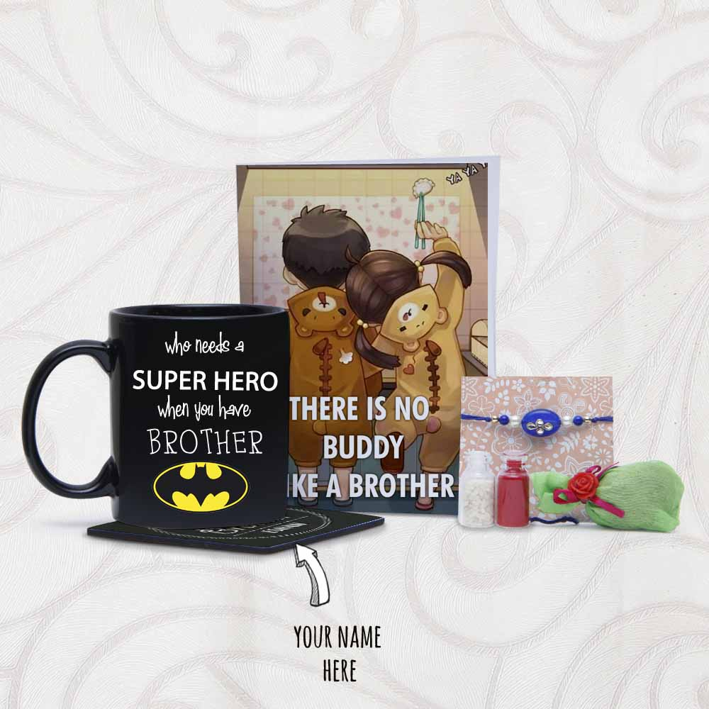 Personalized Coaster with Mug and Rakhi Arrangement for Brother