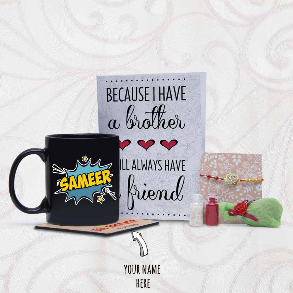 Personalized Coaster and Mug with Rakhi and Card