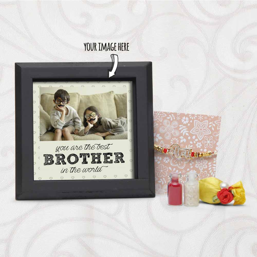 Veera Rakhi with Personalized Table Top for Brother