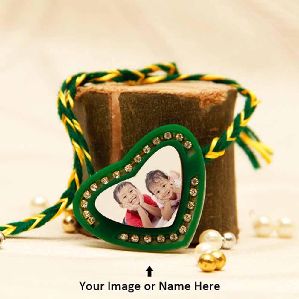 Personalized Green Heart Rakhi