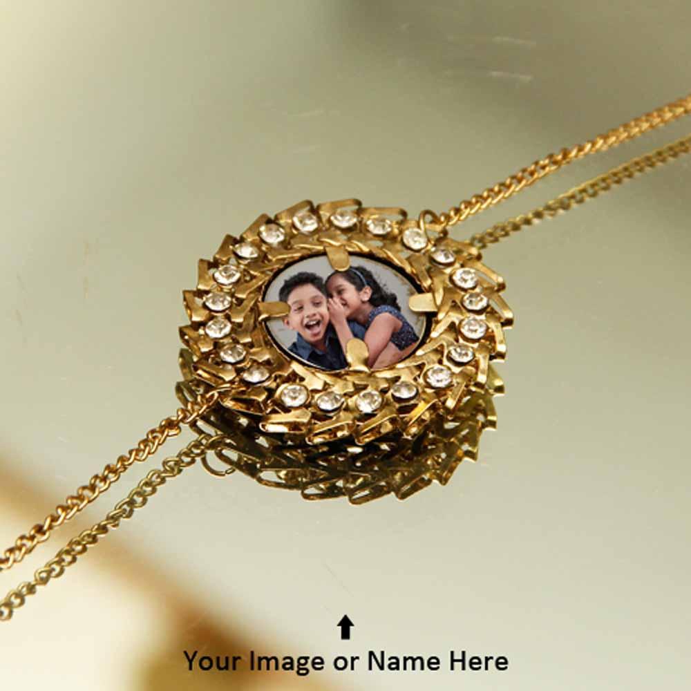 Personalized Golden Flower Rakhi