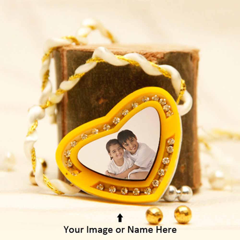 Personalized Yellow Heart Rakhi