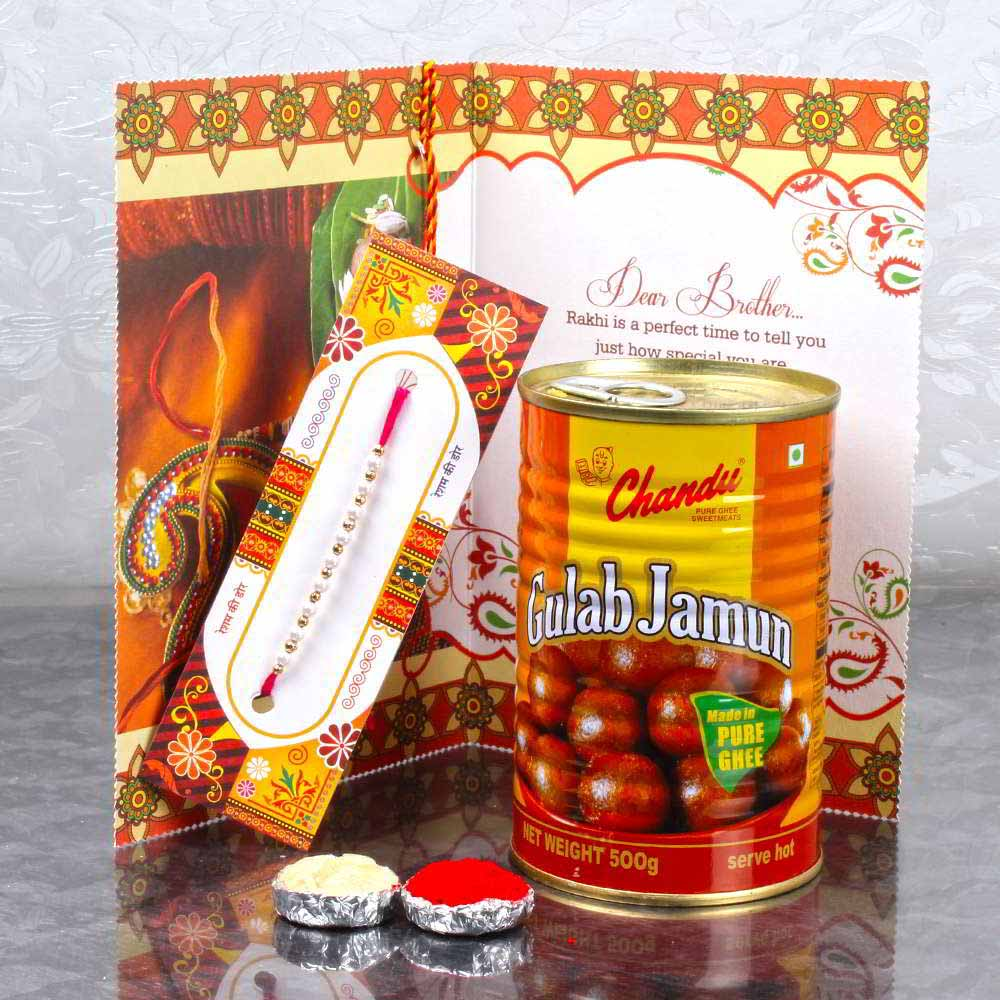 Rakhi Sweet Hamper of Gulab Jamun and Rakhi Greeting Card