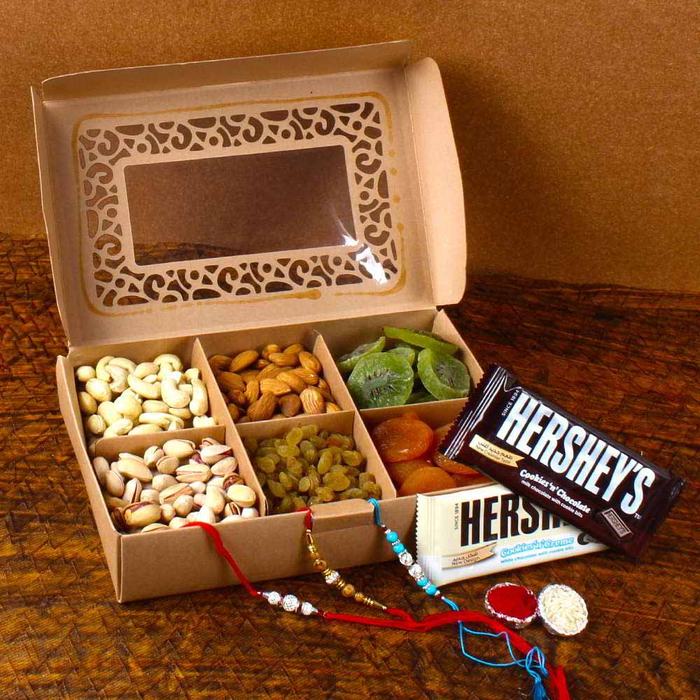 Rakhi Hampers-Hershey's Chocolates with Dry Fruits and Rakhi