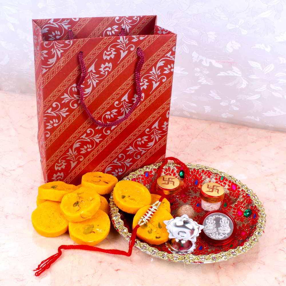 Rakhi Hampers-Fancy Rakhi Thali Gift Combo