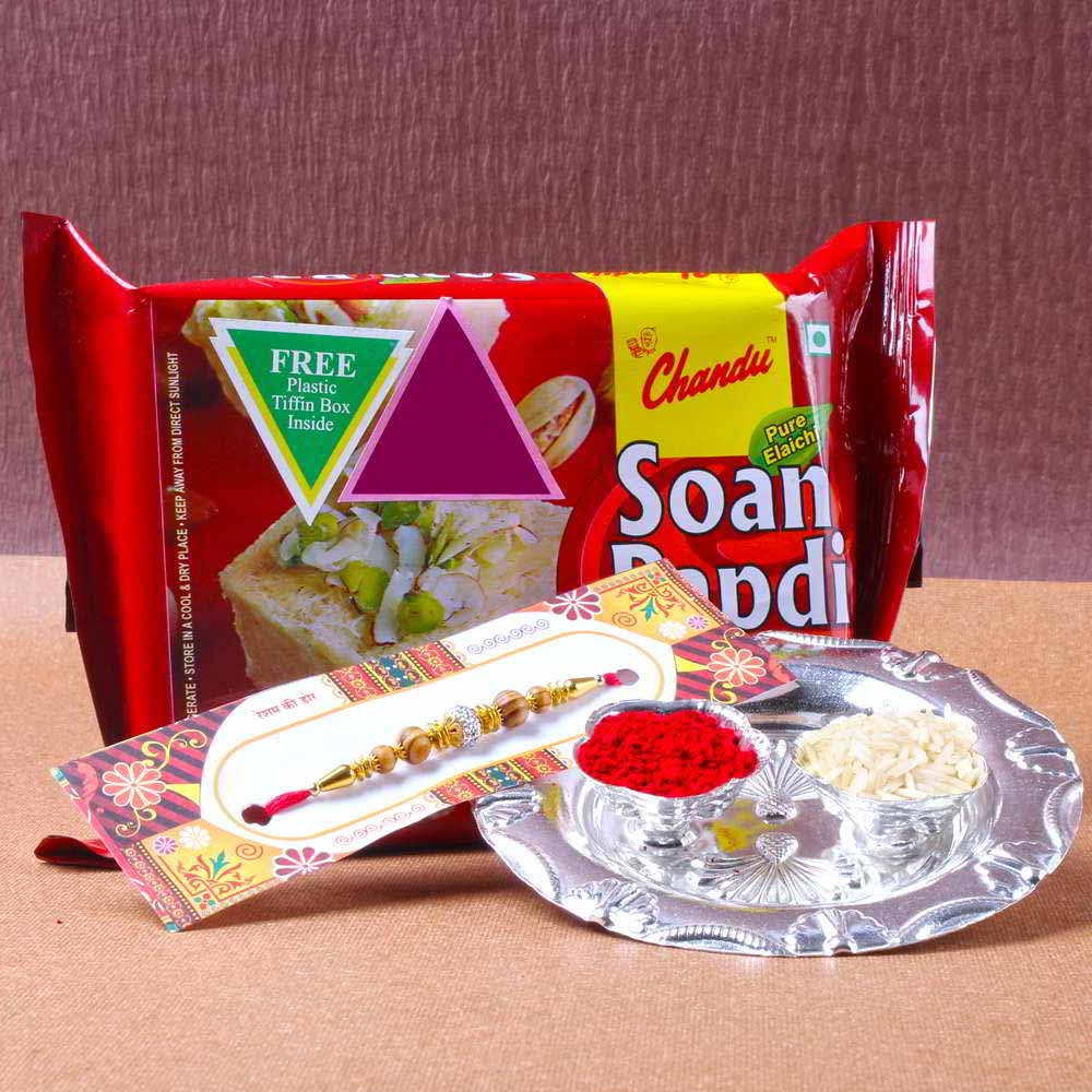 Small Silver Shiny Rakhi Thali with Soan Papadi