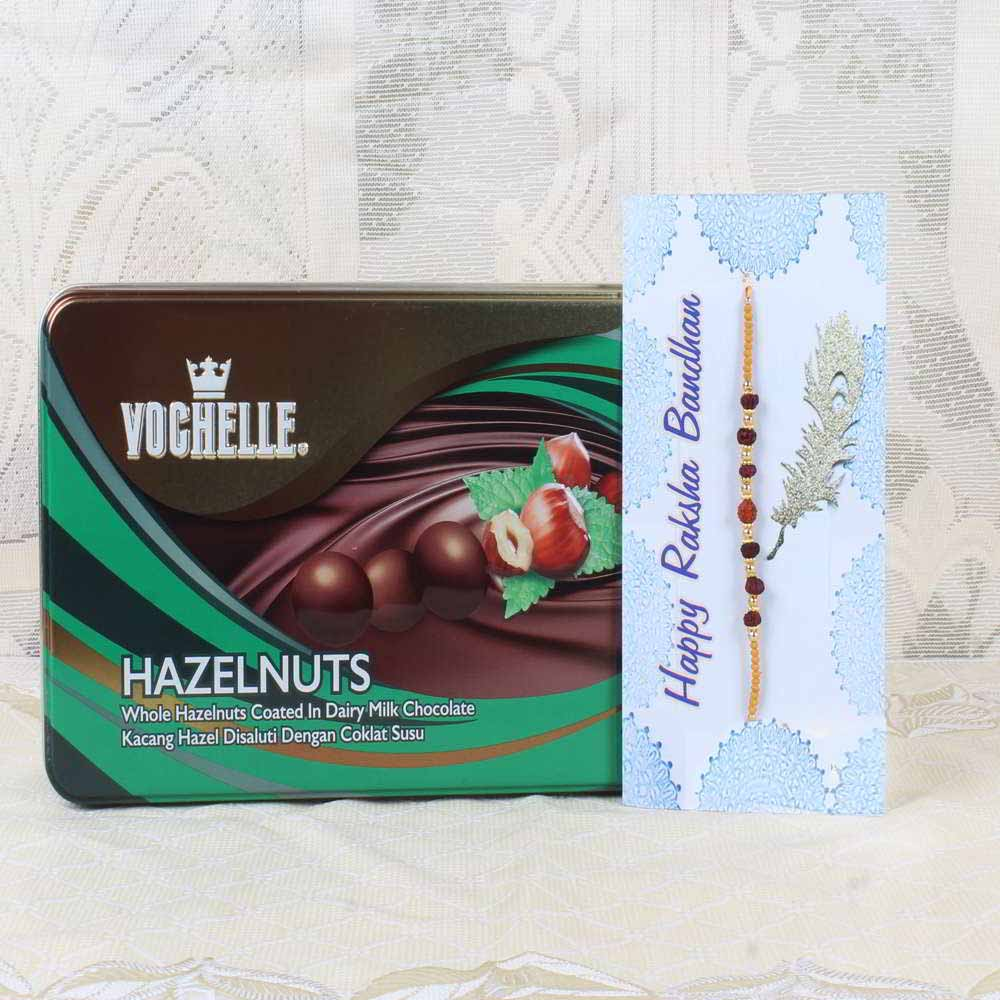 Chocolates & Cookies-Vochelle Hazelnuts Chocolate Box with Rakhi