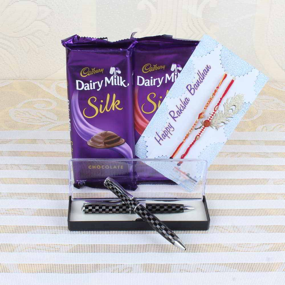 Chocolates & Cookies-Cadbury Dairy Milk Silk Chocolate Bars with Two Rakhis