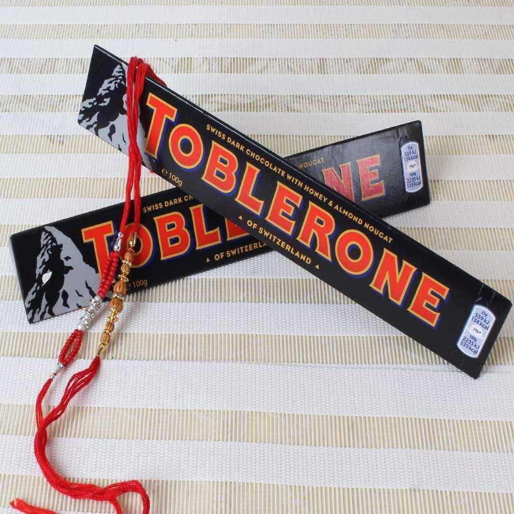 Chocolates & Cookies-Toblerone Chocolate Bars with Two Rakhis