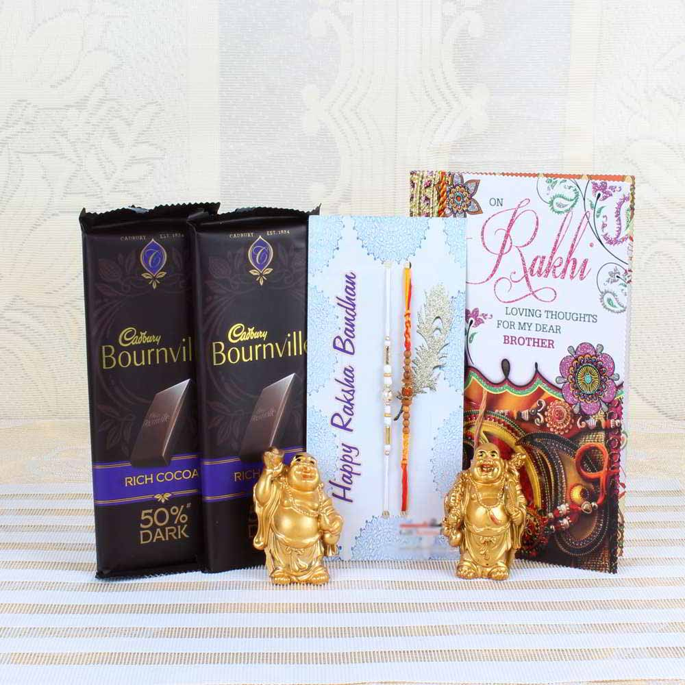 Chocolates & Cookies-Cadbury Bournville Rich Cocoa 50% Dark Bar with Pair of Rakhis