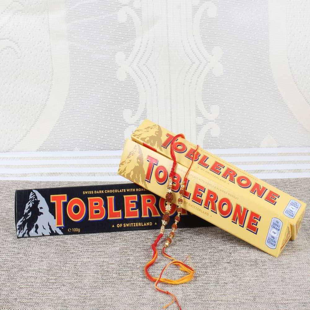 Toblerone Chocolate Bars with Pair of Rakhi