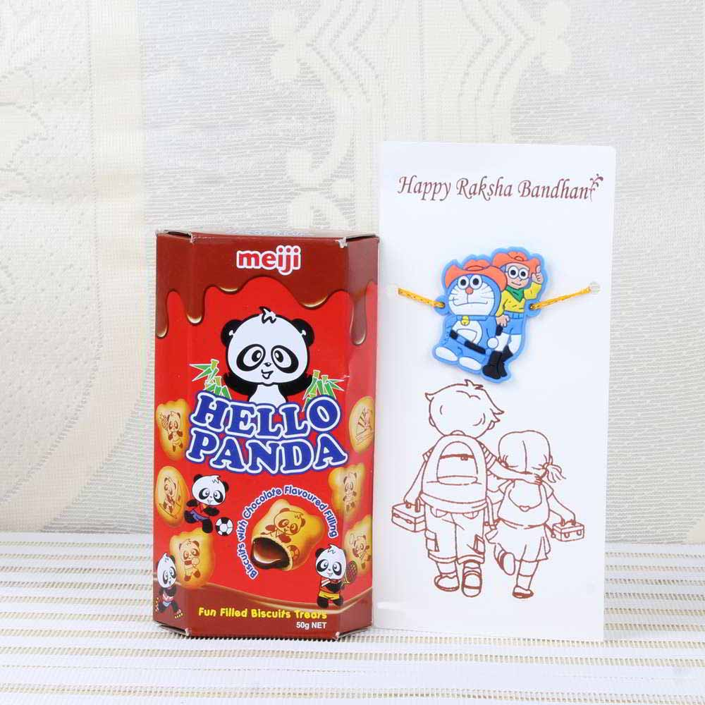 Doraemon Nobita Rakhi and Hello Panda Chocolate Biscuits