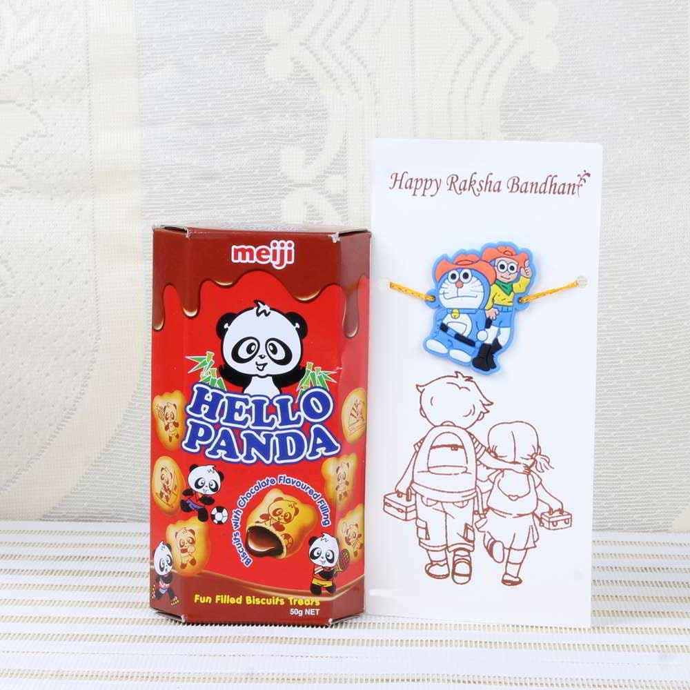 Chocolates & Cookies-Doraemon Nobita Rakhi and Hello Panda Chocolate Biscuits