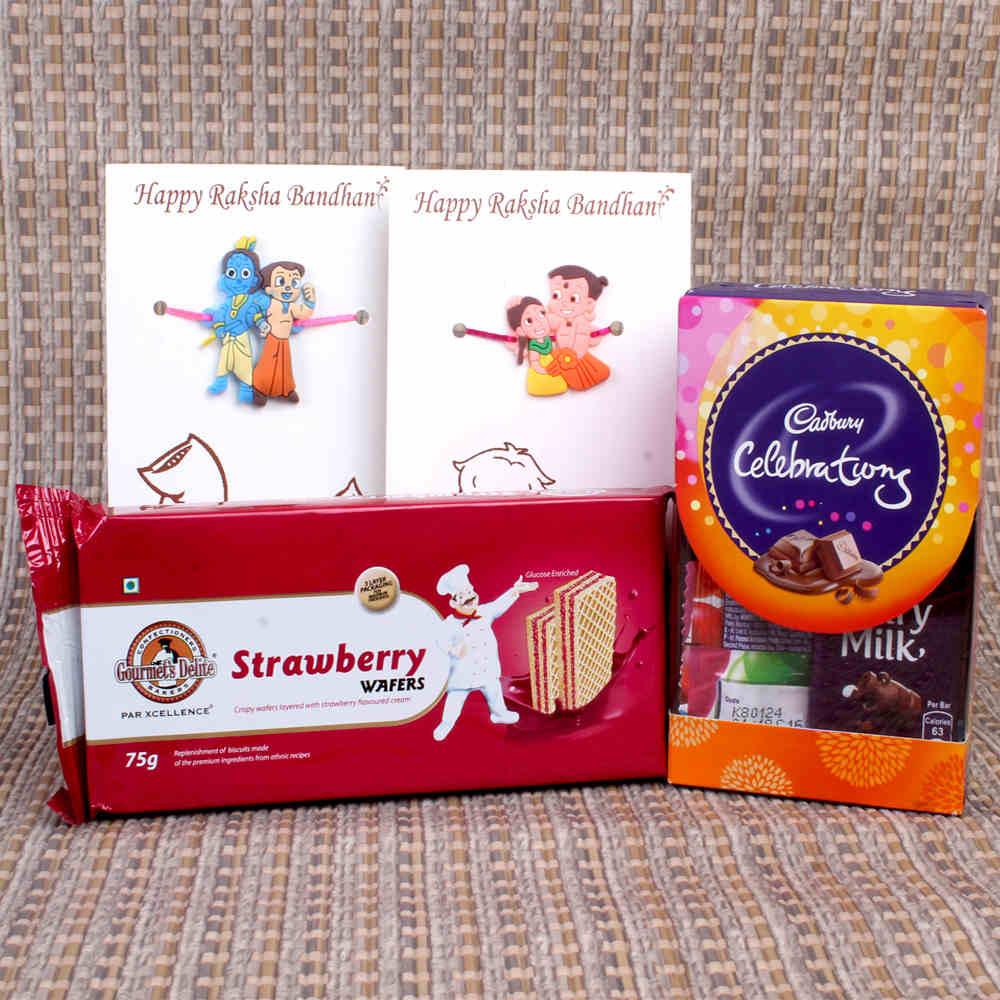 Gifts for Kids-Kids Rakhis Gift of Dukes Waffy with Cadbury Celebration Pack
