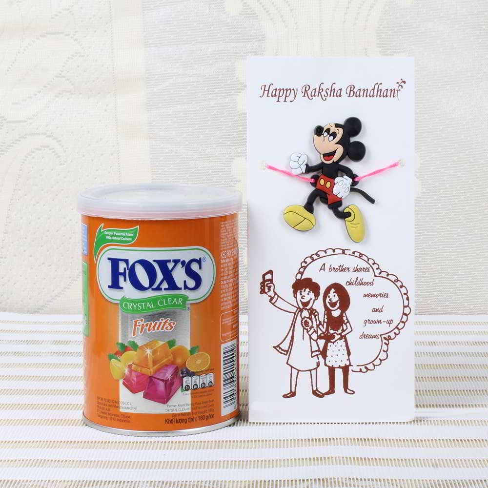 Chocolates & Cookies-Fox Crystal Clear Chocolate Pack with Micky Mouse Rakhi