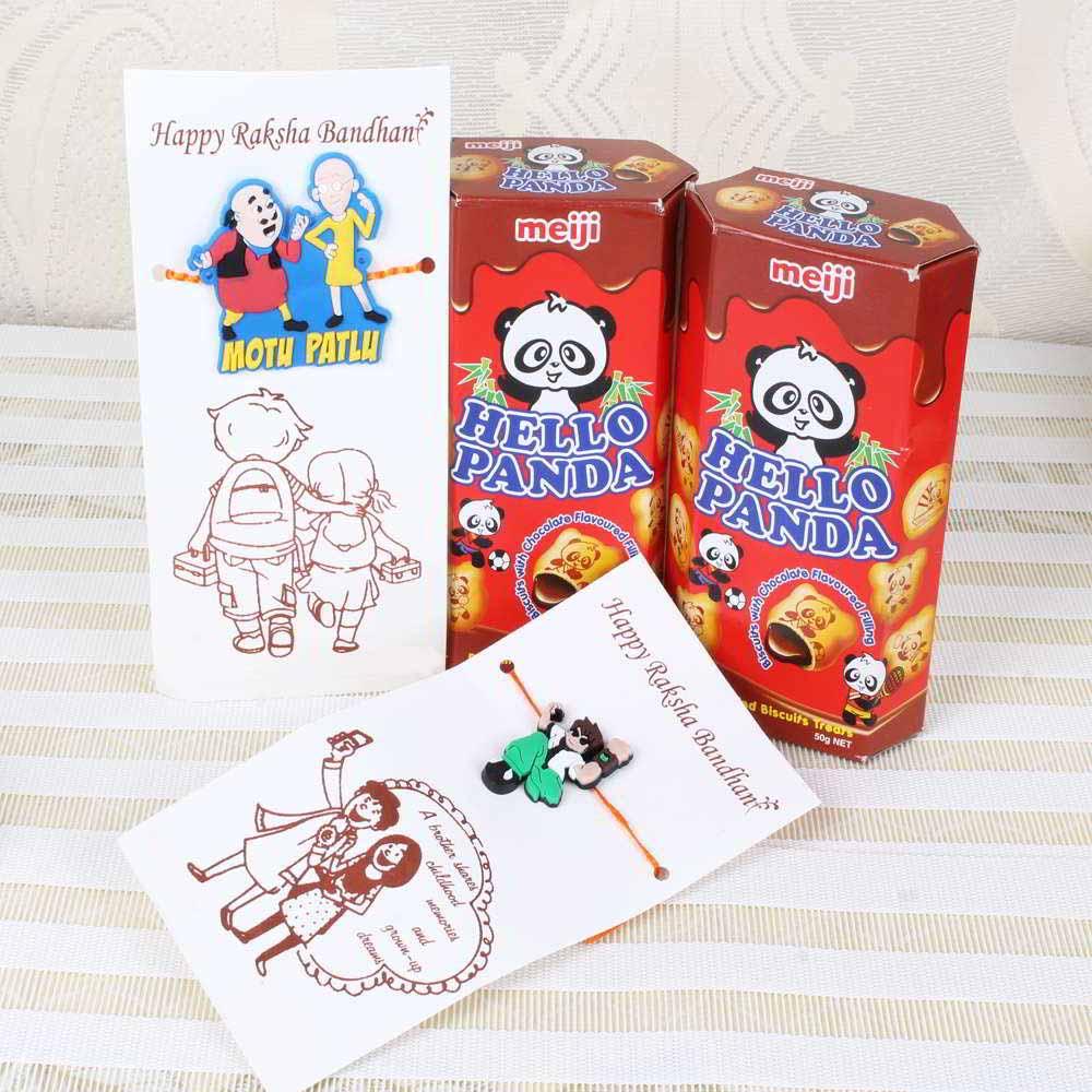 Chocolates & Cookies-Hello Panda Chocolate Biscuits with Ben 10 Rakhi and Motu Patlu Rakhi