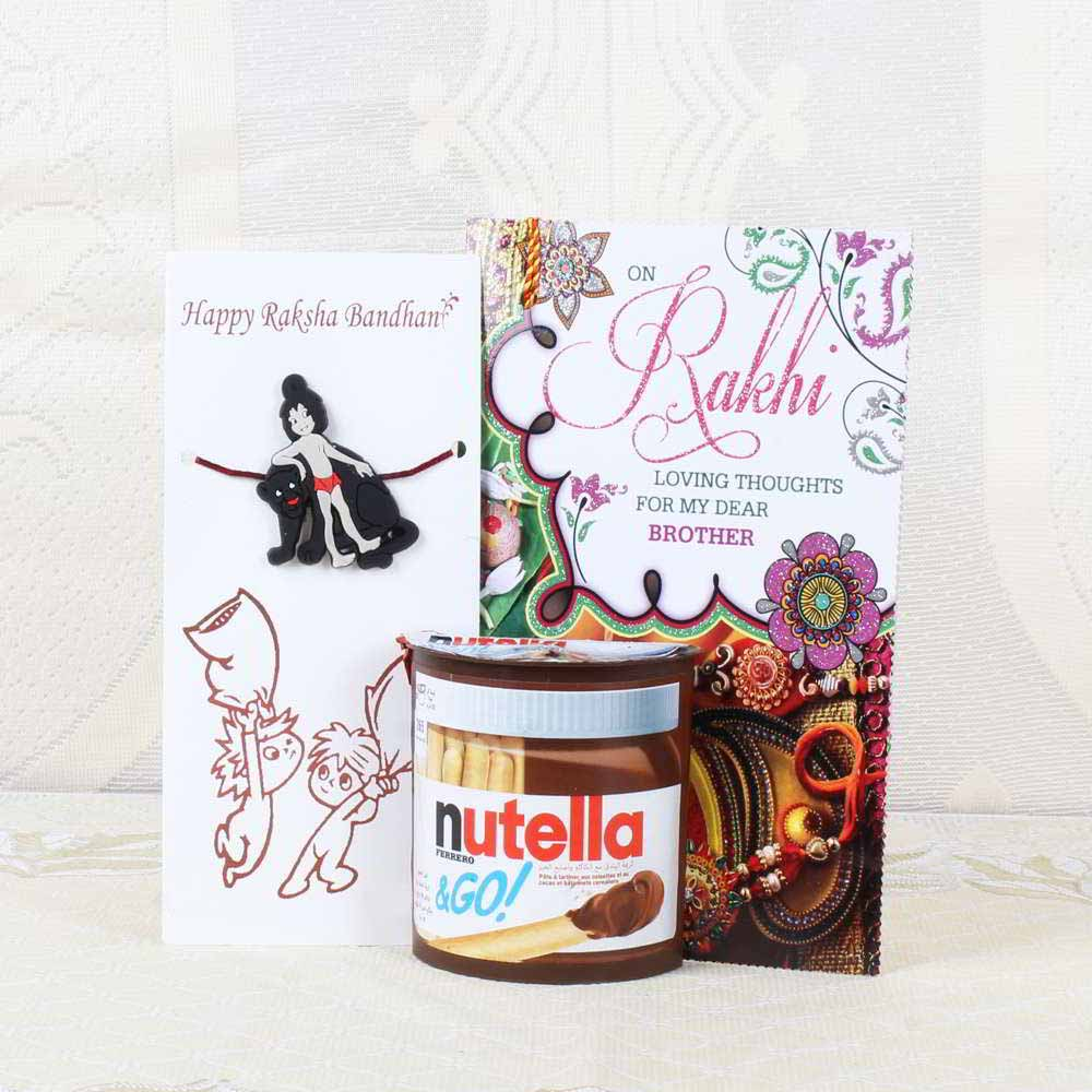 Chocolates & Cookies-Nutella N Go Choco Biscuits with Mogli Rakhi and Greeting Card