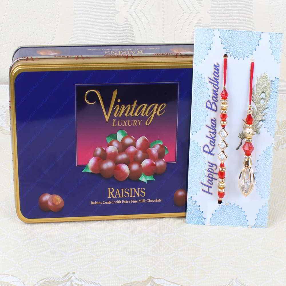 Chocolates & Cookies-Vintage Luxury Raisins Chocolate Box with Bhaiya Bhabhi Rakhi