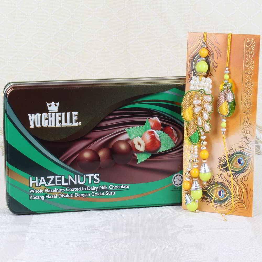 Chocolates & Cookies-Vochelle Hazelnuts Chocolate Box with Lumba Rakhi