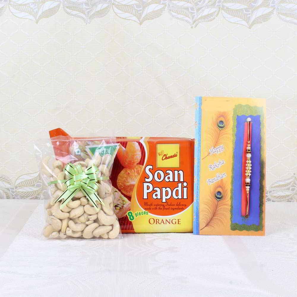 Rakhi Hampers-Rakhi Gift of Soan Papdi with Cashew