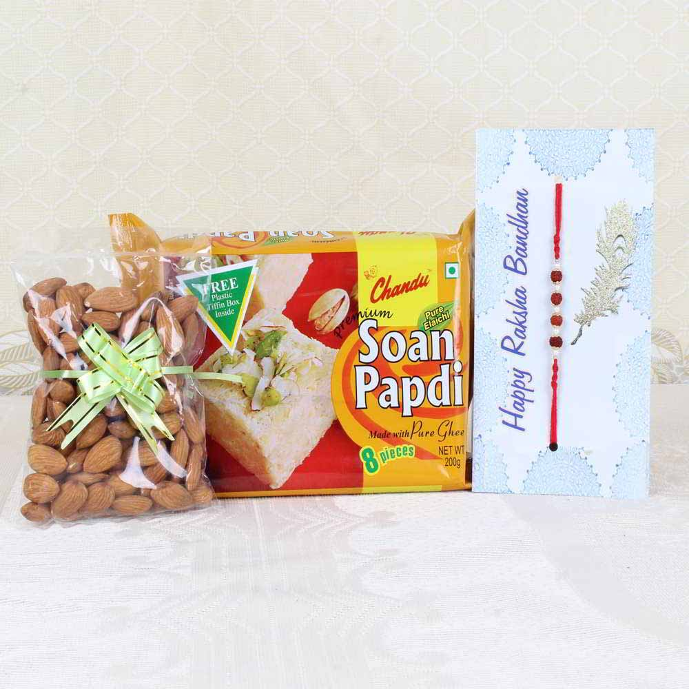 Rakhi Hampers-Rakhi Gift of Soan Papdi with Almonds