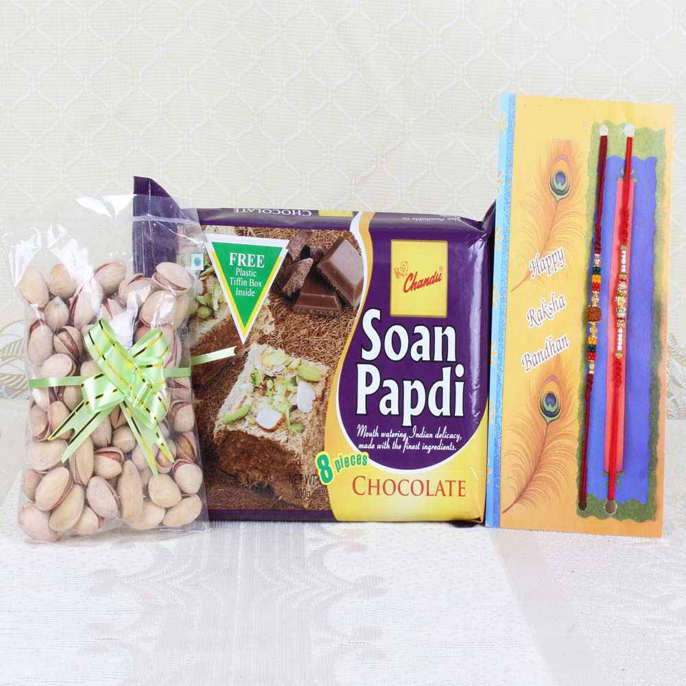 Rakhi Hampers-Soan Papdi and Pistachio with Pair of Rakhi