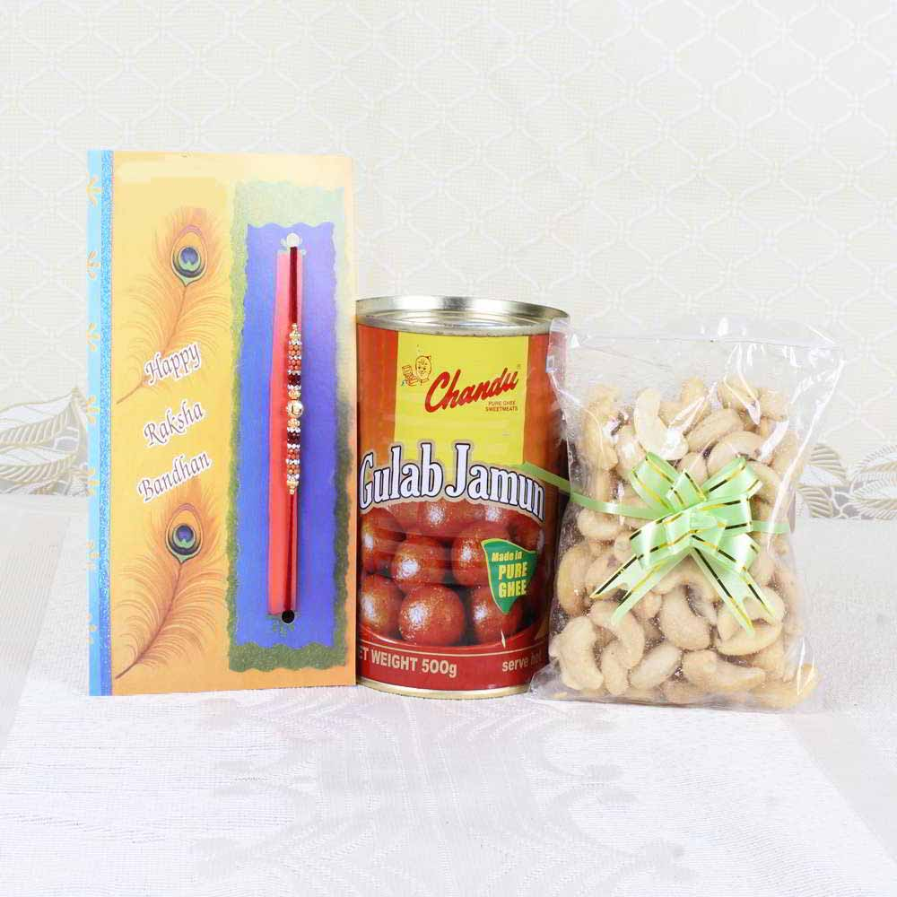 Rakhi Gift of Gulab Jamun with Cashew