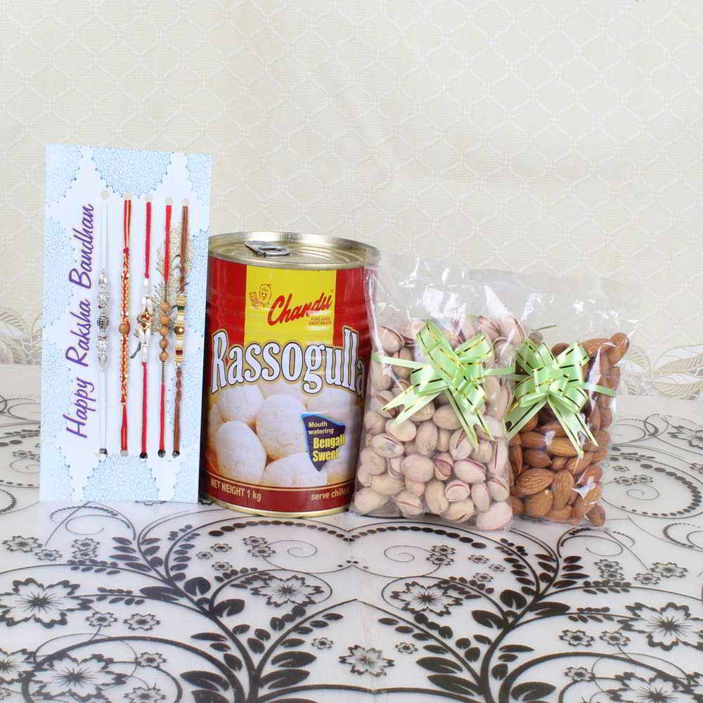 Set of 5 Rakhis with Rassogulla and Pistachio Almond