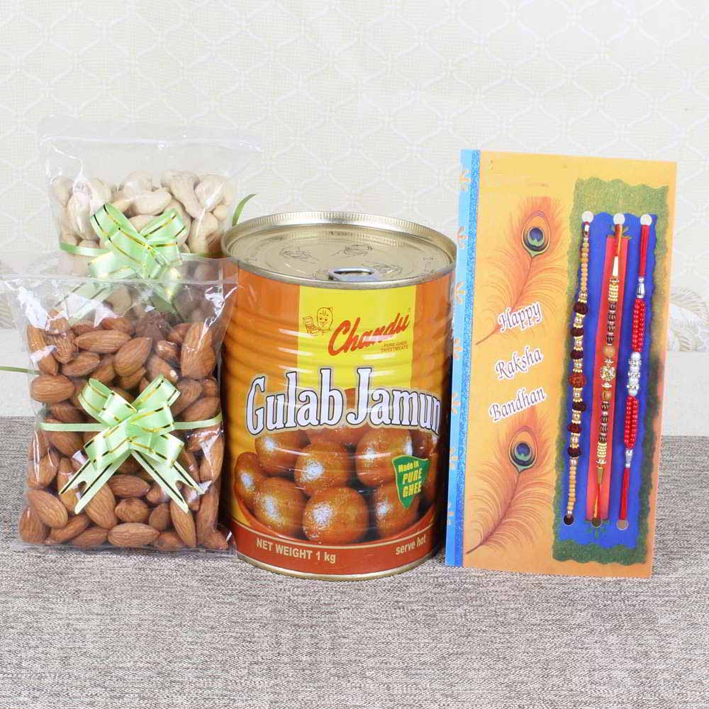 Set of 3 Rakhis with Gulab Jamun and Cashew Almond