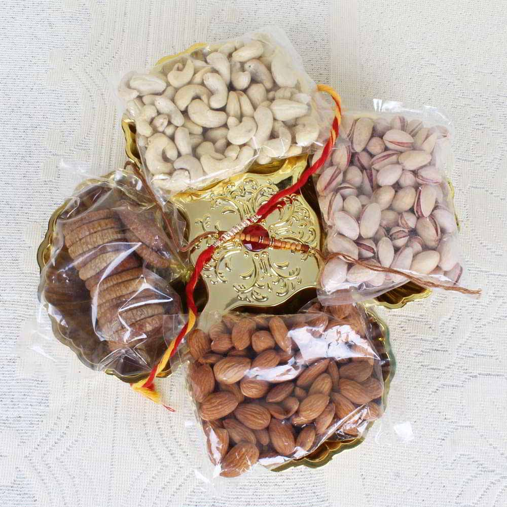Rakhi Hampers-Rakhi Gift of Dry fruit in Tray