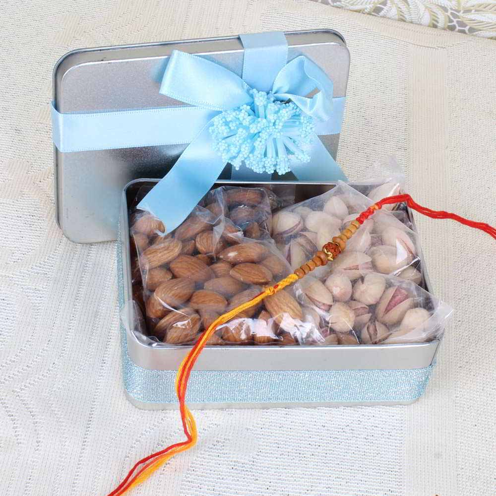 Gift Box of Tasty Nuts and Rakhi