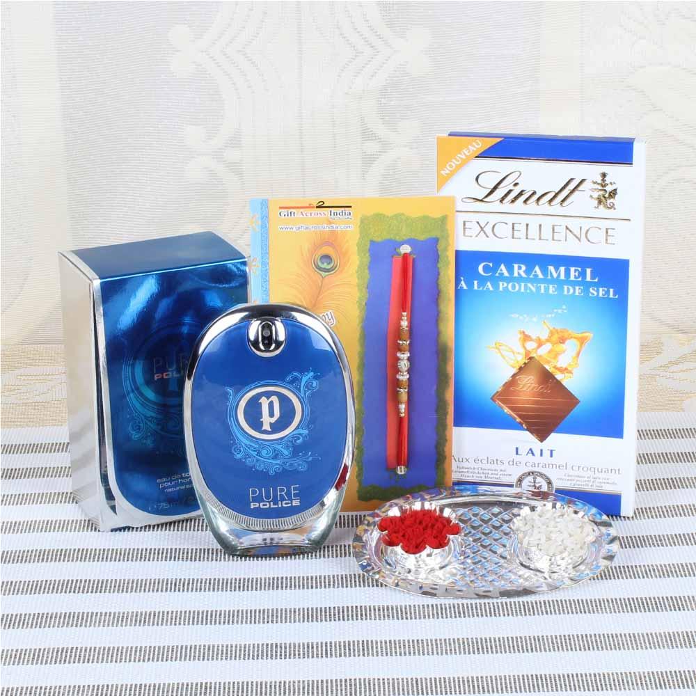 Rakhi Hampers-Combo of Perfume and Chocolate with Rakhi