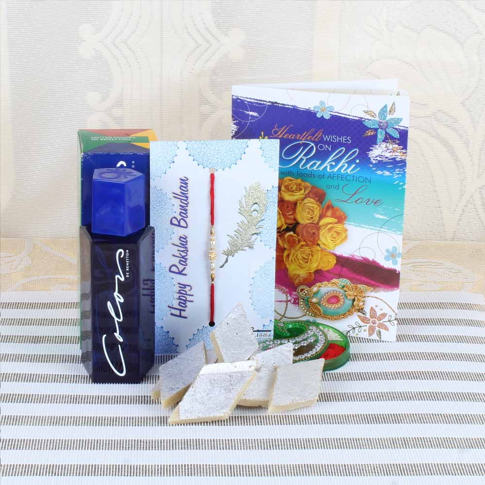 Rakhi Hampers-Adorable Rakhi with Kaju Katli and Color Perfume