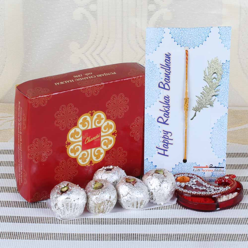 Rakhi Hampers-Bon Bon Sweets with Tiny Wooden Beads Rakhi
